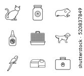 veterinary icons set. outline... | Shutterstock .eps vector #520837849