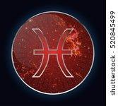 zodiac sign   pisces. round... | Shutterstock . vector #520845499