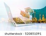 double exposure of businessman... | Shutterstock . vector #520851091