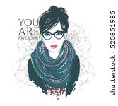 beautiful hipster young women... | Shutterstock . vector #520851985