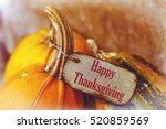pumpkin with tag happy... | Shutterstock . vector #520859569