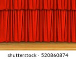 red curtains and wooden stage... | Shutterstock . vector #520860874