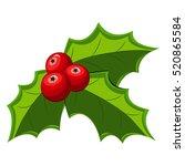 christmas holly berry leaves... | Shutterstock .eps vector #520865584