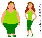 fat and slim woman before and... | Shutterstock .eps vector #520865599