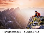 young male hiker with backpack... | Shutterstock . vector #520866715