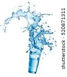 blue water splash in glass... | Shutterstock . vector #520871311