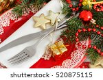 Festive Table Setting With Red...