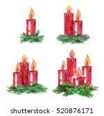 Advent Candles. Watercolor...