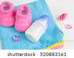 baby bottle with milk and towel ... | Shutterstock . vector #520883161