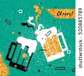 beer glass. clinking mug... | Shutterstock .eps vector #520885789