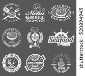 set of seafood labels and... | Shutterstock . vector #520894945
