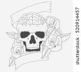 classic hand drawing skull with ... | Shutterstock .eps vector #520914457