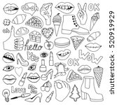a set of monochrome quirky... | Shutterstock .eps vector #520919929