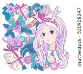 young girl with long purple... | Shutterstock .eps vector #520928347