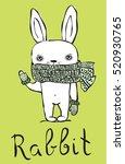 cute rabbit card. vintage... | Shutterstock .eps vector #520930765