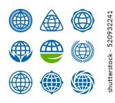 set of vector earth icons ... | Shutterstock .eps vector #520932241
