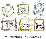 set of cute rabbit avatars... | Shutterstock .eps vector #520932691