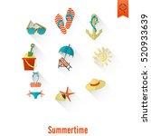 summer and beach simple flat... | Shutterstock .eps vector #520933639