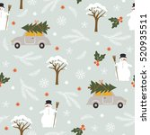 seamless christmas pattern | Shutterstock .eps vector #520935511