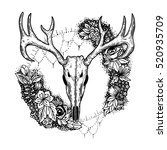 stylized deer skull and flowers ... | Shutterstock .eps vector #520935709