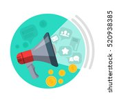 seo loud speaker web button.... | Shutterstock .eps vector #520938385