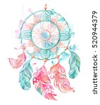 dream catcher  feathers and... | Shutterstock . vector #520944379