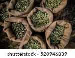 harvested fresh olives in sacks ... | Shutterstock . vector #520946839