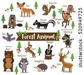 forest creature cartoon on... | Shutterstock .eps vector #520949725