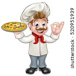 cartoon chef character holding... | Shutterstock .eps vector #520951939