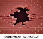 a breaking brick wall being... | Shutterstock .eps vector #520951969