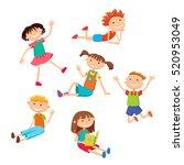collection of happy children in ... | Shutterstock . vector #520953049
