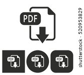 pdf   black and white icons.... | Shutterstock .eps vector #520953829