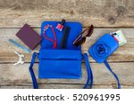 things from open lady purse.... | Shutterstock . vector #520961995