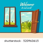 open door. valley landscape.... | Shutterstock .eps vector #520963615