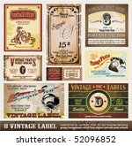 Stock vector vintage labels collection set of design elements with original antique style 52096852