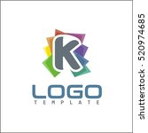 k letter colorful abstract logo | Shutterstock .eps vector #520974685