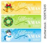 merry christmas banner set.... | Shutterstock .eps vector #520976245
