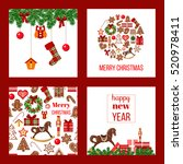 christmas set. xmas theme in... | Shutterstock .eps vector #520978411