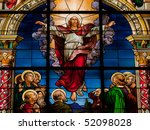 Beautiful stained glass window created by F. Zettler (1878-1911) at the German Church in Stockholm. Motif deplicting the resurrection of Jesus, celebrated on Easter Sunday. - stock photo