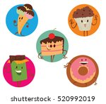 vector set of round frames with ... | Shutterstock .eps vector #520992019