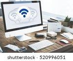 wireless internet technology... | Shutterstock . vector #520996051