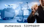 businessman is pressing button... | Shutterstock . vector #520996849