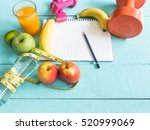 healthy eating  workout and... | Shutterstock . vector #520999069
