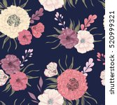 seamless pattern with peony ... | Shutterstock .eps vector #520999321