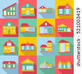 houses icons set. flat... | Shutterstock . vector #521003419