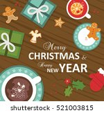 top view of christmas... | Shutterstock .eps vector #521003815