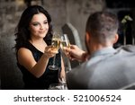couple with champagne glasses... | Shutterstock . vector #521006524