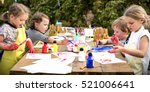 kid learning painting drawing... | Shutterstock . vector #521006641
