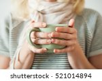cup tea coffee female hands... | Shutterstock . vector #521014894