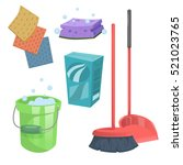 cartoon trendy cleaning service ... | Shutterstock .eps vector #521023765